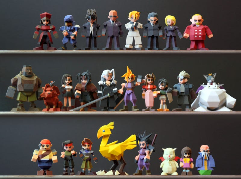 Illustration for article titled The Cast of Final Fantasy VII, 3D-Printed. It's Fantastic.