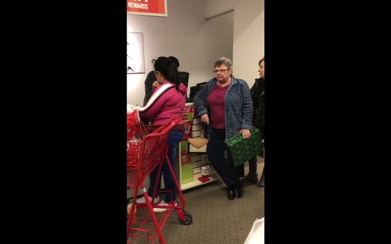 Video footage of an older white woman who went on a racist rant against two Hispanic customers in a Kentucky J.C. Penney storeYouTube screenshot