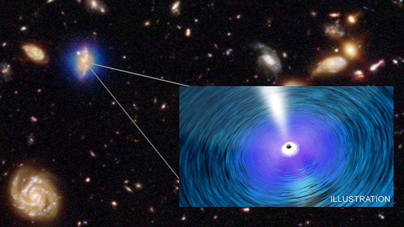 An illustration of a black hole on top of data of distant galaxies (Image: X-ray: NASA/CXC/Penn. State/G. Yang et al & NASA/CXC/ICE/M. Mezcua et al.; Optical: NASA/STScI; Illustration: NASA/CXC/A. Jubett)