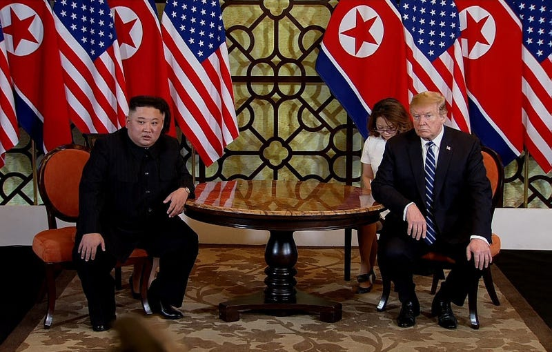 President Donald Trump (R) and North Korean leader Kim Jong-un (L) during their second summit meeting at the Sofitel Legend Metropole hotel on February 28, 2019 in Hanoi, Vietnam.