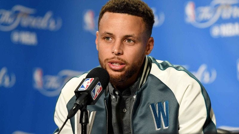 Steph Curry at a press conference.