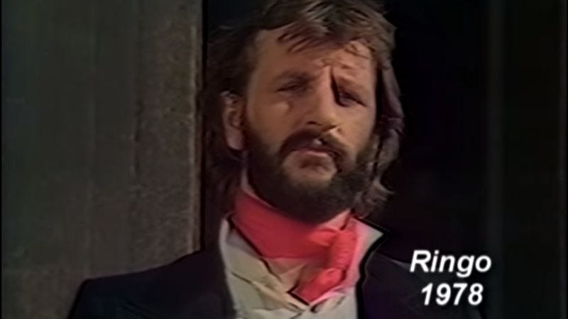 Illustration for article titled 38 years ago today, Ringo Starr went to primetime variety special hell