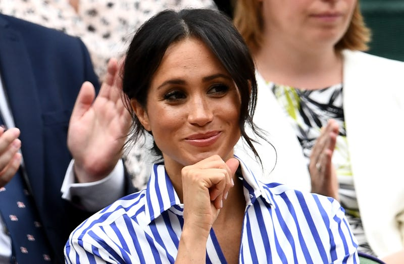 Meghan, Duchess of Sussex attends day twelve of the Wimbledon Lawn Tennis Championships on July 14, 2018 in London, England.