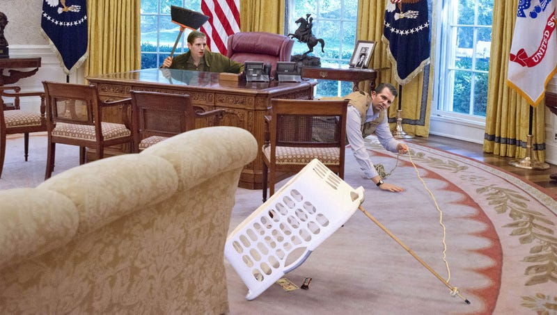 Illustration for article titled Trump Boys Leave $5 Bill, Candy Bar Under Propped-Up Laundry Basket In Effort To Catch Op-Ed Writer