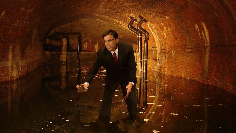 Illustration for article titled Doubling Down: Governor Pat McCrory Has Spent The Past 6 Weeks In The North Carolina Sewers Separating Male And Female Urine
