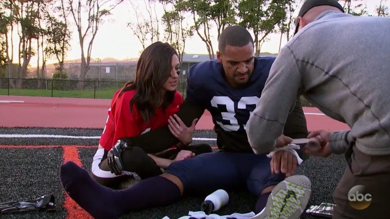 Illustration for article titled Romantic Bachelorette Football Game Ends In An Injury To An Actual NFL Player