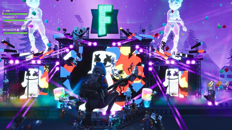 Illustration for article titled El DJ Marshmello fue el primero en dar un concierto virtual en Fortnite, y ha sido todo un éxito