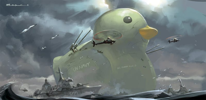 Illustration for article titled Concept Art Writing Prompt: The Navy's Big Rubber Duck