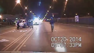 Scene from dashboard-camera video showing the shooting death of 17-year-old Laquan McDonald by Chicago police in October 2014.YouTube screenshot
