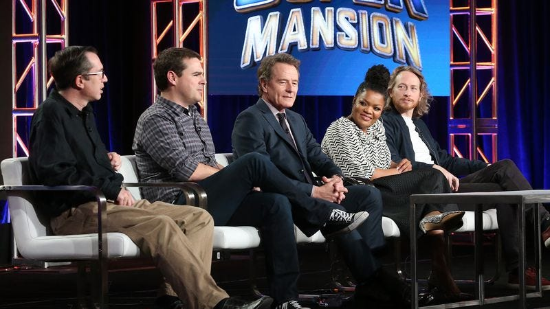 Matthew Senreich, Tucker Gilmore, Bryan Cranston, Yvette Nicole Brown, and Zeb Wells (Photo: Frederick M. Brown/Getty Images)