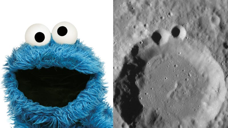 "Illustration for article titled NASA on Mercury's Craters: ""Anyone Else Think This Looks Like the Cookie Monster?"""
