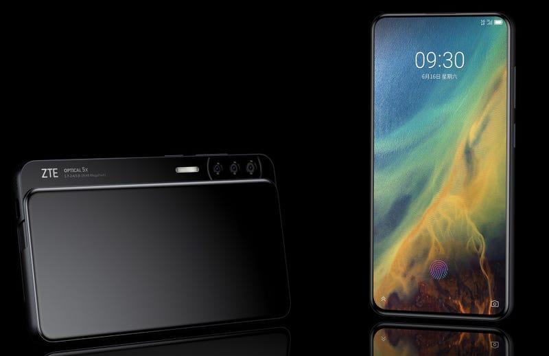 Illustration for article titled Lo nuevo de ZTE es un smartphone deslizante que esconde cinco cámaras a sus lados
