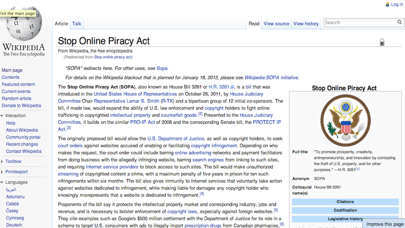 Us House Just Put The Sopa Bill On Hold Updated