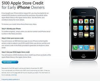 Illustration for article titled No iTunes Gift Cards For Your $100 'Early iPhone Owners' Store Credit