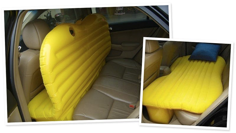 Illustration for article titled Inflatable Backseat Bed Adds A Touch of Luxury to Living Out of Your Car