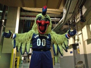 Illustration for article titled The New Orleans Pelicans' Mascot Is Here To Terrify Your Children