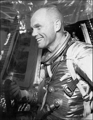 Astronaut John Glenn smiles during a training for his Feb. 20, 1962, space flight aboard the NASA Mercury capsule Friendship 7, in which he became the first American to orbit the Earth.-/AFP/Getty Images