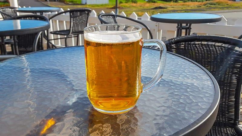 Large mug of beer in Iceland.