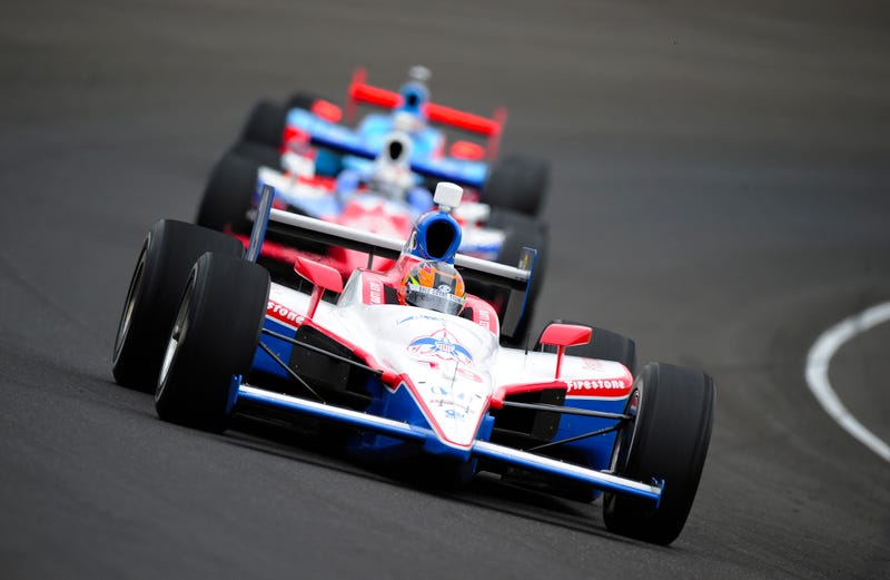 The author, driving the #19 Dale Coyne Racing Dallara Honda, leads a pack of cars during final practice on Carb Day for the 95th running of the Indianapolis 500 on May 27, 2011. Photo credit Getty Images