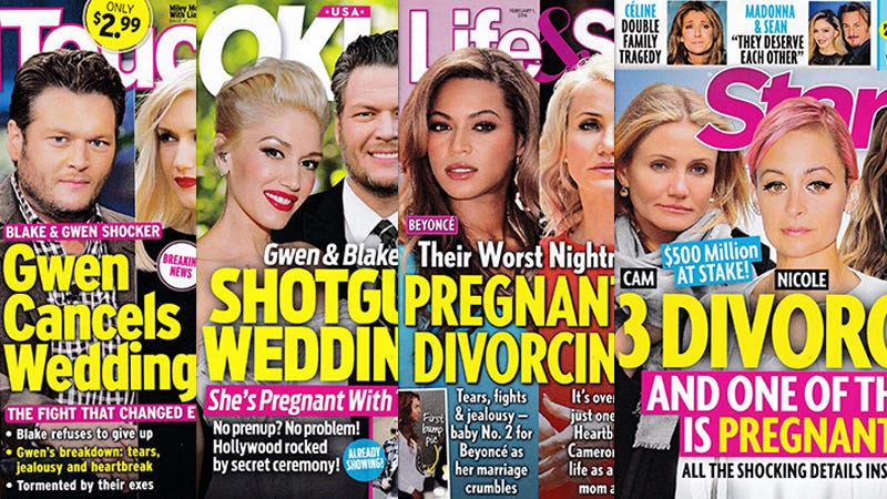 Illustration for article titled This Week In Tabloids: Cameron? Divorcing! Beyoncé? Divorcing! Gwen and Blake? Who Knows!