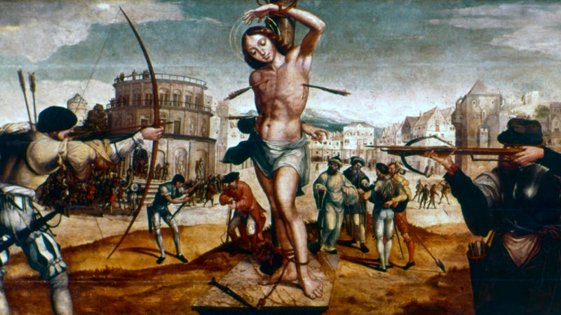 The Martyrdom Of St. Sebastian, 16th century. Sebastian was a member Emperor Diocletian's Praetorian Guard sentenced to be executed by archers. When Diocletian discovered that Sebastian was still alive, he ordered that he be clubbed to death. (Photo: Art Media/Print Collector via Getty Images)