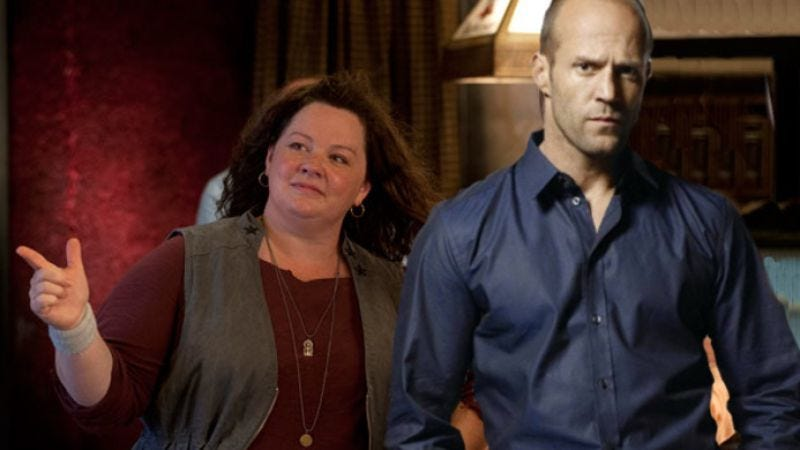 Illustration for article titled Jason Statham may play the guy who's initially annoyed by then learns to appreciate Melissa McCarthy
