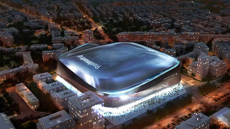 Illustration for article titled Real Madrid's new space age stadium is fully covered in titanium