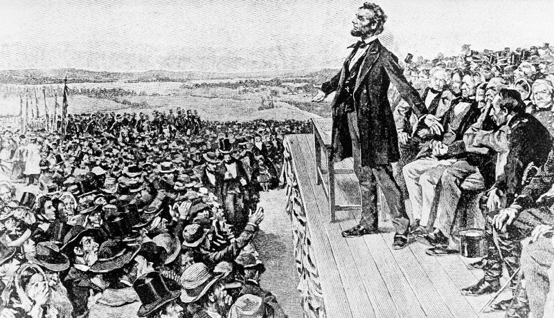An undated illustration of President Abraham Lincoln delivering the Gettysburg Address. Image via AP Photo.