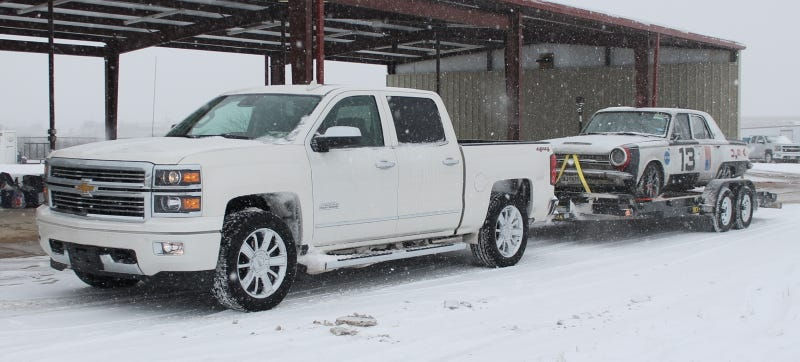 Illustration for article titled I Towed A Dodge Dart In Texas Snow With A Silverado 1500 And Didn't Die