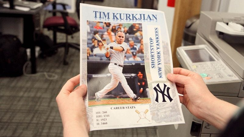 Illustration for article titled Linda Cohn Finds Tim Kurkjian's Design For Baseball Card Of Himself In Office Printer