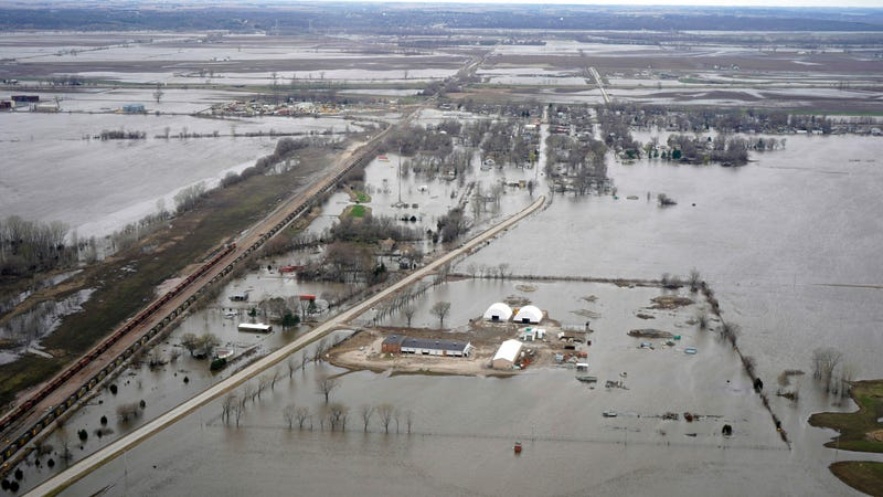 Flooding in the town of Pacific Junction, Iowa on April 12, 2019, due to high waters in the Missouri River.