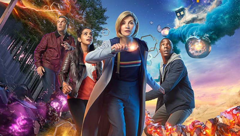 Bradley Walsh, Mandip Gill, Jodie Whittaker, and Tosin Cole star in Doctor Who