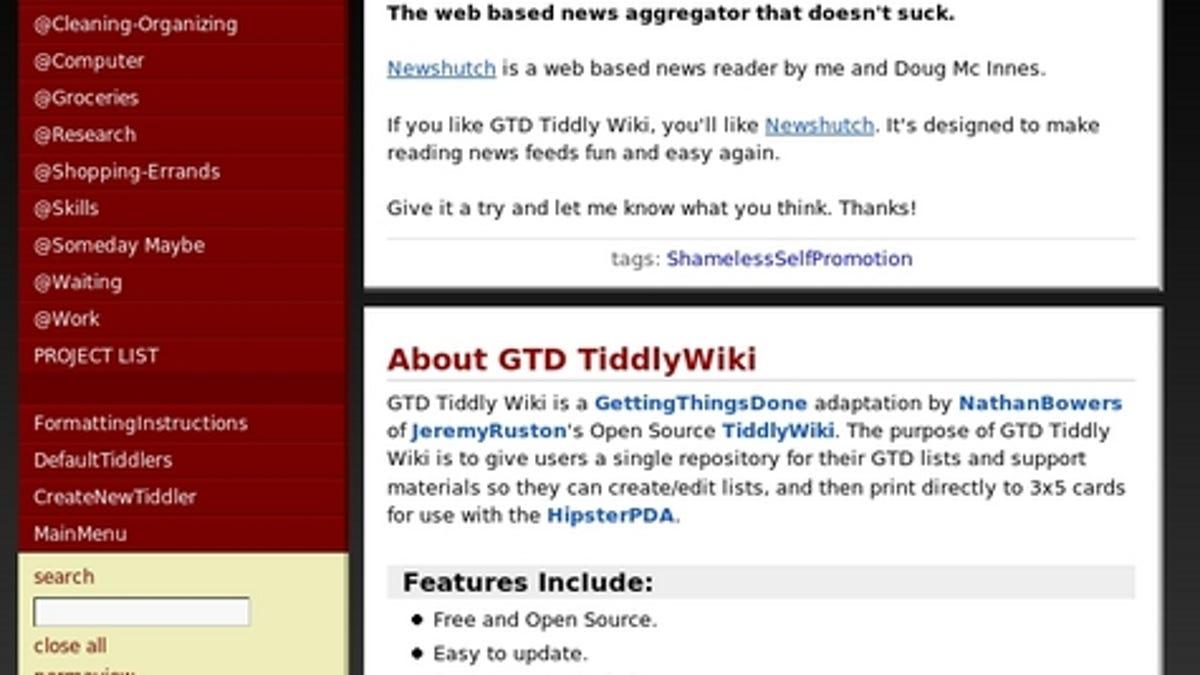Get organized with GTDTiddlyWiki