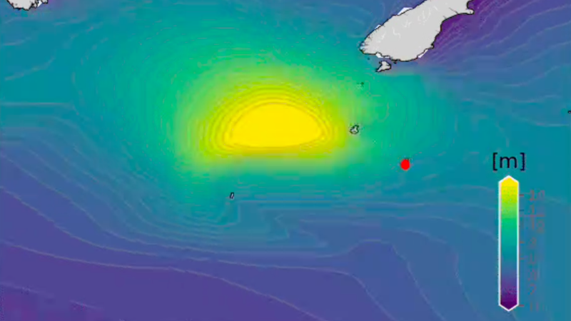 Simulation of significant wave height passing over South New Zealand.