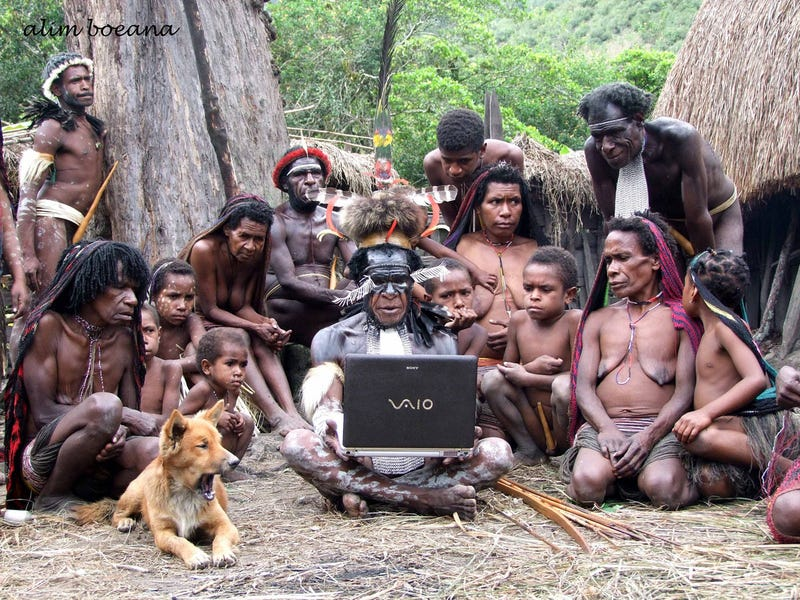 Illustration for article titled The Dani People of Papua with a Sony Vaio Laptop
