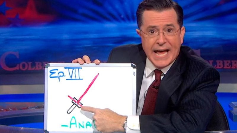 Illustration for article titled Stephen Colbert assures George Lucas he knows what lightsabers are