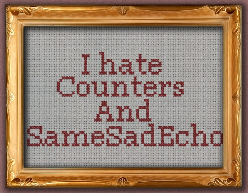 Illustration for article titled Here is a needlePOINT about problems I have with COUNTERS