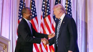 Former Republican presidential candidate Ben Carson shakes hands with Donald Trump as he endorses the Republican front-runner at the Mar-a-Lago Club in Palm Beach, Fla., on March 11, 2016.Joe Raedle/Getty Images