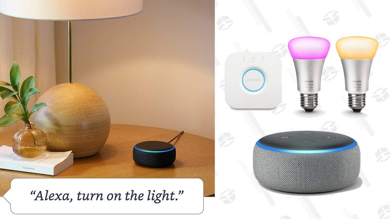 Echo Dot (3rd Gen) - Charcoal with Philips Hue White and Color Smart Light Bulb Starter Kit | $90 | Amazon