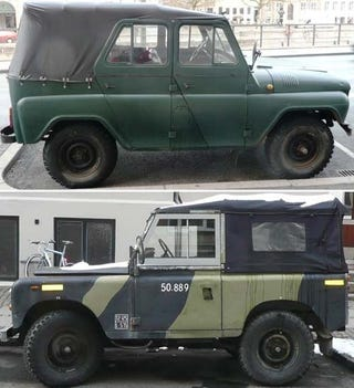 Illustration for article titled NATO Meets Warsaw Pact In Copenhagen: Land Rover and UAZ-469!