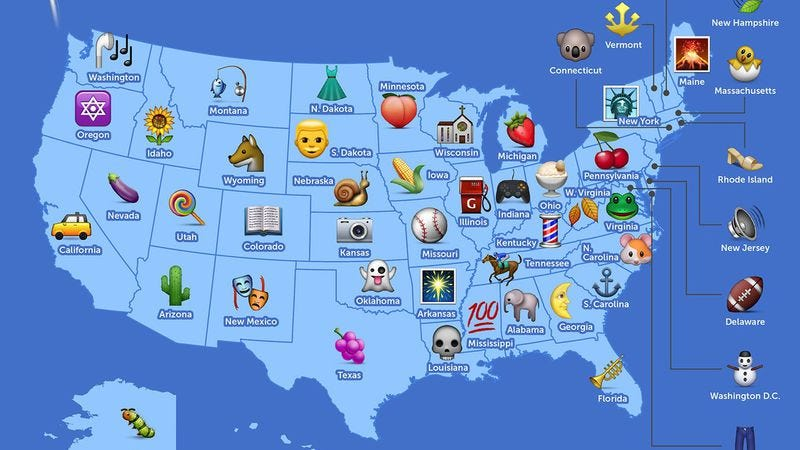 Illustration for article titled This interactive map charts the most popular emoji by state