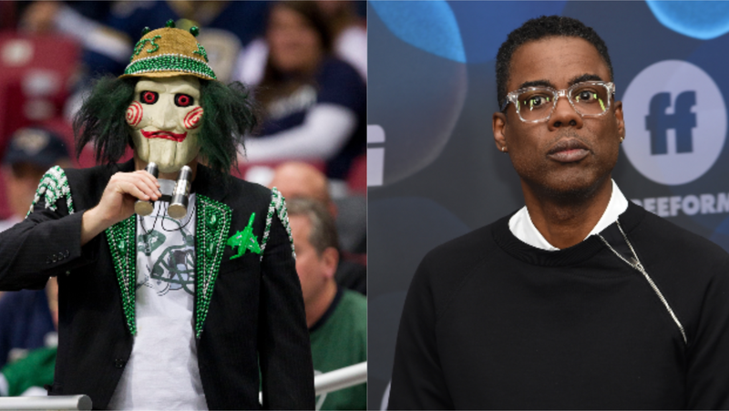 "(L-R): A New York Jets fan takes in the game against the St. Louis Rams through a ""Jigsaw"" mask during the game on November 18, 2012 in St. Louis, Missouri. ; Chris Rock attends the ABC Walt Disney Television Upfront on May 14, 2019 in New York City."