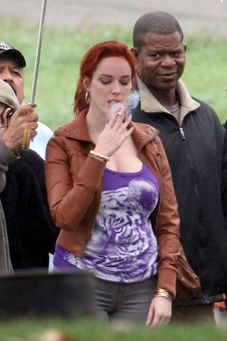 Illustration for article titled This Dude Clearly Doesn't Approve Of Christina Hendricks' Smoking