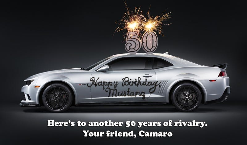 Illustration for article titled GM Wishes the Mustang a Happy 50th