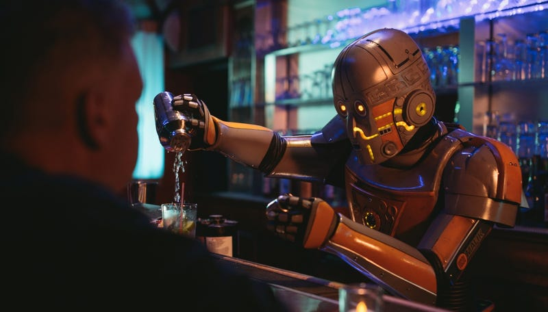Illustration for article titled Robot Bartender Struggles With Asimov's Laws In This Amazing Short Film