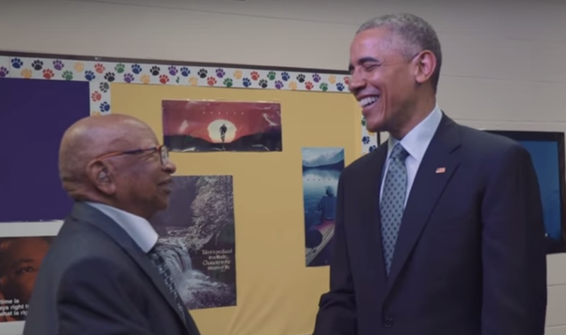 Lester Townsend, the 108-year-old grandson of a slave, laughs with President Barack Obama.White House via YouTube screenshot