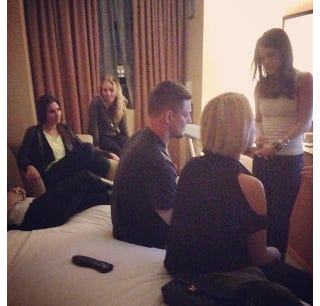 Illustration for article titled Here's A Picture Of Rob Gronkowski Hanging Out With Some Girls In A Boston Hotel