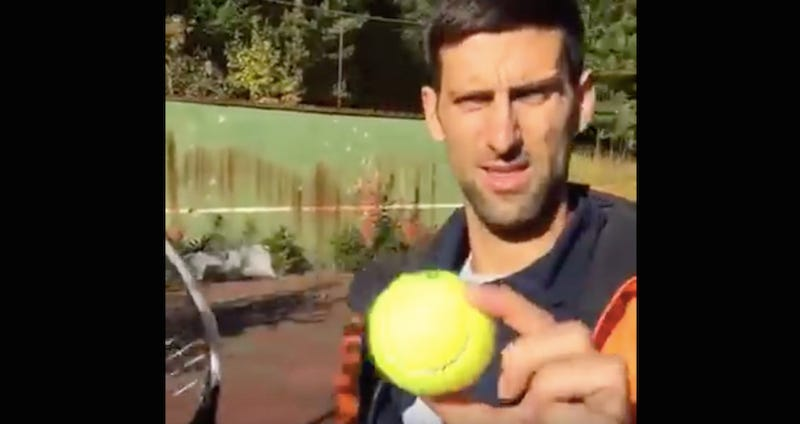 Illustration for article titled Novak Djokovic Visits The Bomb-Ravaged Tennis Club From His Childhood