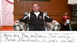 """Illustration for article titled """"I Always Told Her I Would Take Her For A Ride"""": Notes From Bobby Petrino's Meeting With Arkansas Before They Fired Him"""