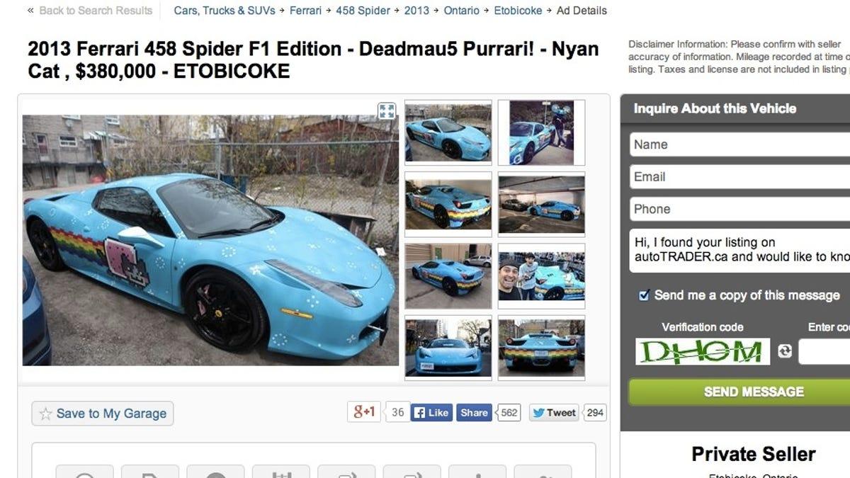 Craigslist Removed Deadmau5\'s $380,000 Purrari, Now It\'s On Autotrader